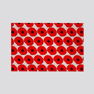 Big Red Poppy Flowers Pattern Rectangle Magnet