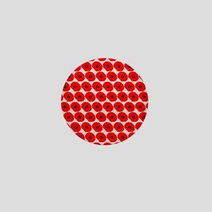 Big Red Poppy Flowers Pattern Mini Button