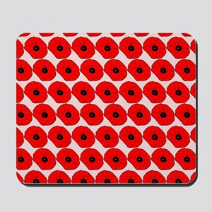 Big Red Poppy Flowers Pattern Mousepad