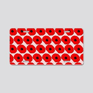 Big Red Poppy Flowers Patte Aluminum License Plate