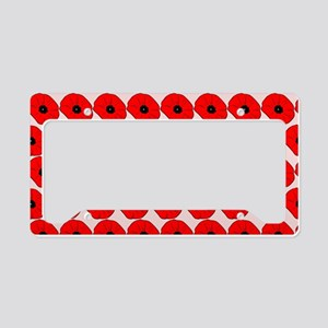 Big Red Poppy Flowers Pattern License Plate Holder