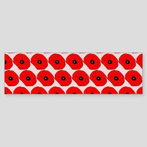 Big Red Poppy Flowers Pattern Sticker (Bumper)