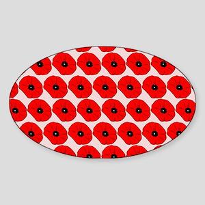 Big Red Poppy Flowers Pattern Sticker (Oval)