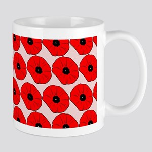 Big Red Poppy Flowers Pattern Mug