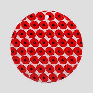 Big Red Poppy Flowers Pattern Ornament (Round)