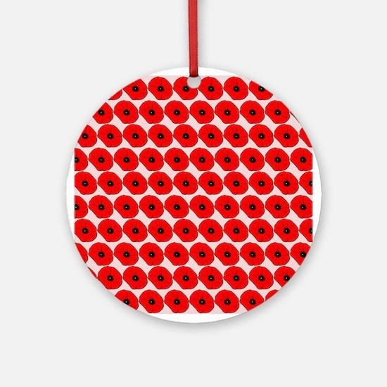 Big Red Poppy Flowers Pattern Ornament (Round)