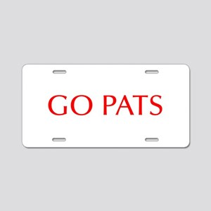 Go Pats-Opt red Aluminum License Plate