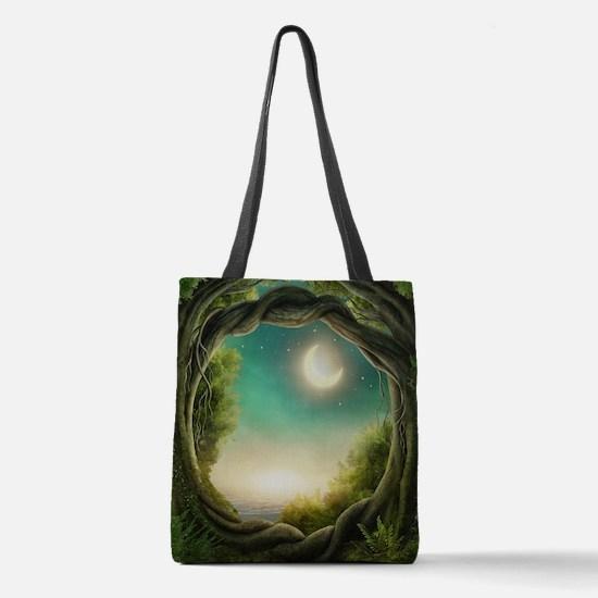 Magic Moon Tree Polyester Tote Bag