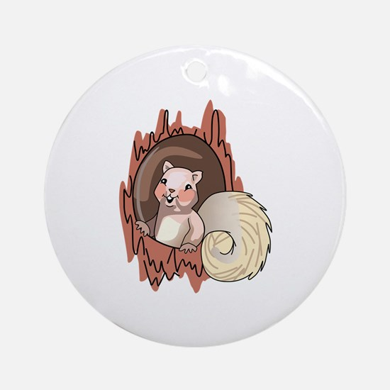 Squirrel In Tree Ornament (Round)