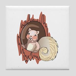 Squirrel In Tree Tile Coaster