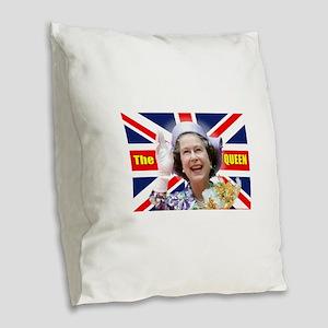 HM Queen Elizabeth II Great Br Burlap Throw Pillow
