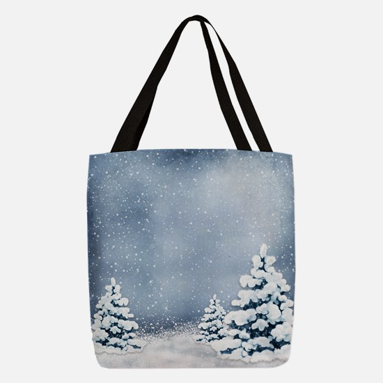 Cute Snowy Pine Trees Polyester Tote Bag