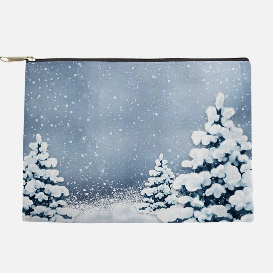 Cute Snowy Pine Trees Makeup Pouch
