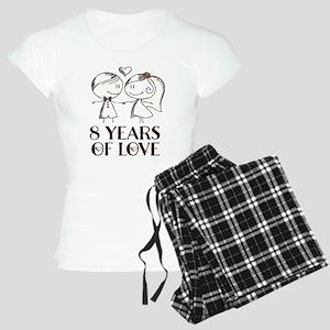 8th Anniversary chalk coupl Women's Light Pajamas