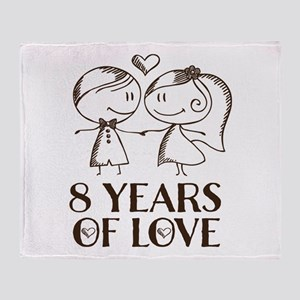 8th Anniversary chalk couple Throw Blanket