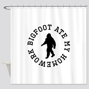 Bigfoot Ate My Homework Shower Curtain