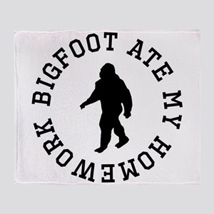 Bigfoot Ate My Homework Throw Blanket