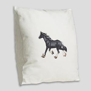 DRAFT HORSE Burlap Throw Pillow