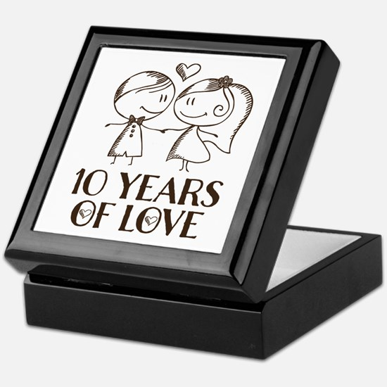 10th Anniversary chalk couple Keepsake Box