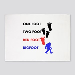 One Foot Two Foot Red Foot Bigfoot 5'x7'Area Rug