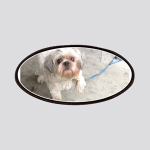 small dog at cafe mostly white Lhasa type Patch