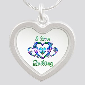 I Love Quilting Silver Heart Necklace