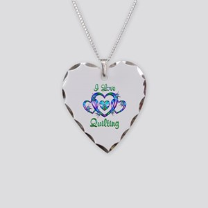 I Love Quilting Necklace Heart Charm