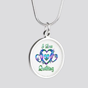 I Love Quilting Silver Round Necklace