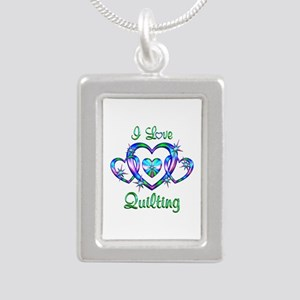 I Love Quilting Silver Portrait Necklace