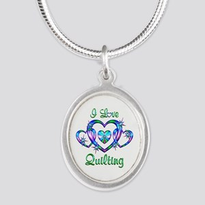 I Love Quilting Silver Oval Necklace