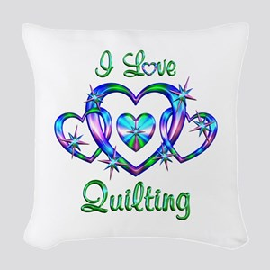 I Love Quilting Woven Throw Pillow
