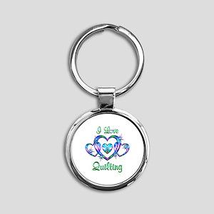 I Love Quilting Round Keychain