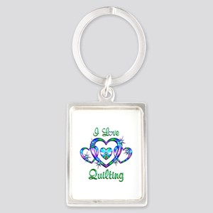 I Love Quilting Portrait Keychain