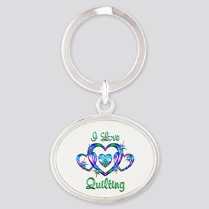 I Love Quilting Oval Keychain