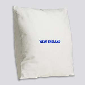New England-Fre blue Burlap Throw Pillow