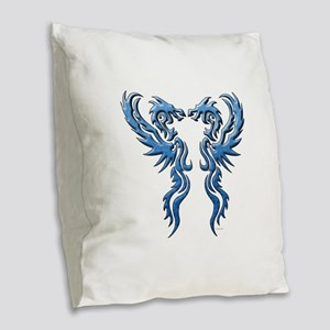twin dragons new (W) Burlap Throw Pillow