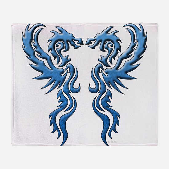twin dragons new (W).png Throw Blanket