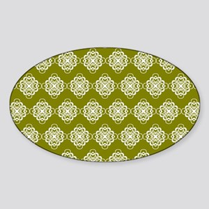 Olive and White Modern Decorative L Sticker (Oval)