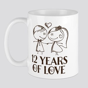 12th Anniversary chalk couple Mug