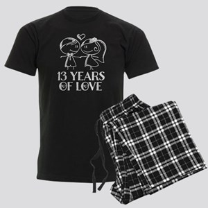 13th Anniversary chalk couple Men's Dark Pajamas