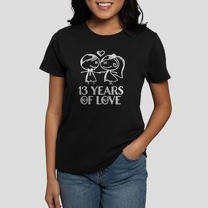 13th Anniversary chalk couple Women's Dark T-Shirt