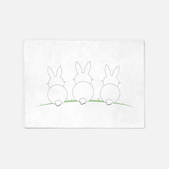 Outline Easter Bunnies 5'x7'Area Rug