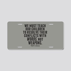Words Not Weapons Aluminum License Plate