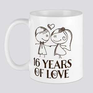 16th Anniversary chalk couple Mug