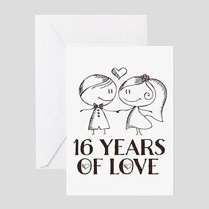 5eac936c889e3 16th Anniversary chalk couple Greeting Card