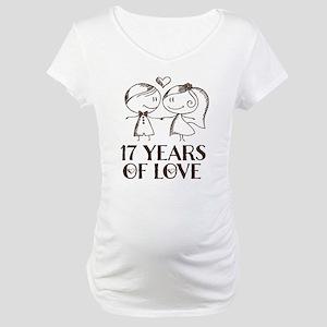 17th Anniversary chalk couple Maternity T-Shirt