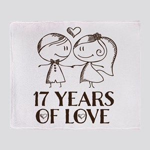 17th Anniversary chalk couple Throw Blanket