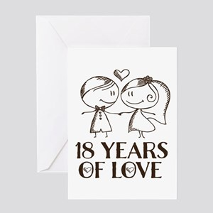 18th Anniversary chalk couple Greeting Card