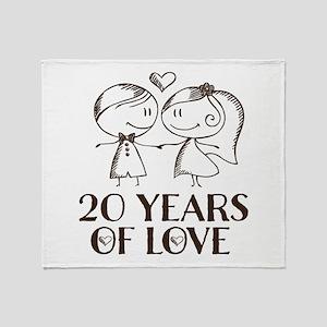 20th Anniversary chalk couple Throw Blanket