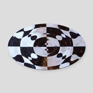 Checkered Flag Distorted Oval Car Magnet